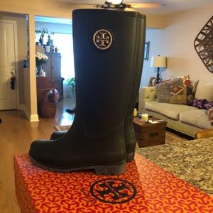 Size 7 Tory Burch Black Rain Boots (only worn 2x)